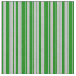 [ Thumbnail: Grey and Green Colored Stripes Fabric ]