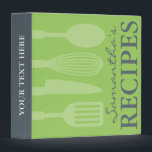 """Grey and green kitchen utensils recipe binder book<br><div class=""""desc"""">Grey and green kitchen utensils recipe binder book. Custom cookbook with spoon knife spatula and whisk design. Cute personalized cooking / baking gift idea for women; ie mom,  aunt,  sister,  daughter,  mother,  friend,  cousin,  grandma etc. Customizable colors.</div>"""