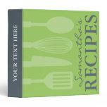 Grey and green kitchen utensils recipe binder book