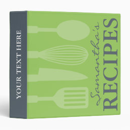 Grey and green kitchen utensils recipe binder book