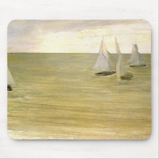 Grey and green the silver sea by Whistler Mouse Pad