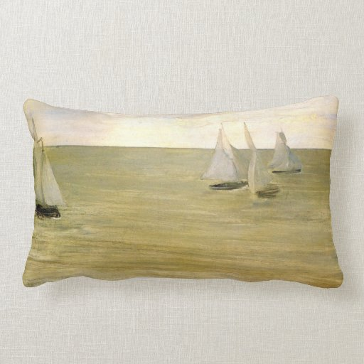 Grey and green the silver sea by Whistler Pillow