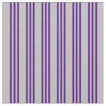 [ Thumbnail: Grey and Indigo Colored Stripes/Lines Pattern Fabric ]