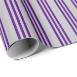 [ Thumbnail: Grey and Indigo Colored Stripes/Lines Pattern Wrapping Paper ]