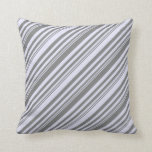 [ Thumbnail: Grey and Lavender Colored Stripes Throw Pillow ]
