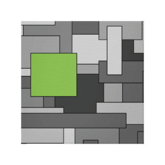 Grey and Light Green Geometric Abstract Art Canvas Print
