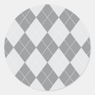 Grey and Light Grey Argyle Pattern Classic Round Sticker