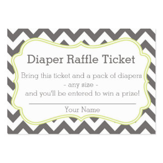 Grey and Lime Chevron Diaper Raffle Ticket Business Card
