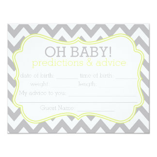 Grey and Lime Chevron Predictions & Advice Card Announcement