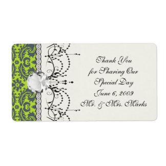 grey and lime ornate damask pattern label