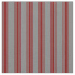[ Thumbnail: Grey and Maroon Lines Fabric ]