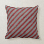 [ Thumbnail: Grey and Maroon Lines Throw Pillow ]