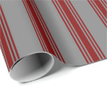 [ Thumbnail: Grey and Maroon Lines Wrapping Paper ]