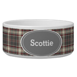 Grey and Maroon Plaid Pet Food Bowl