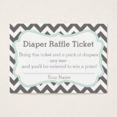 Grey And Mint Chevron Diaper Raffle Ticket at Zazzle