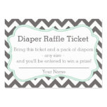 Grey and Mint Chevron Diaper Raffle Ticket Large Business Cards (Pack Of 100)