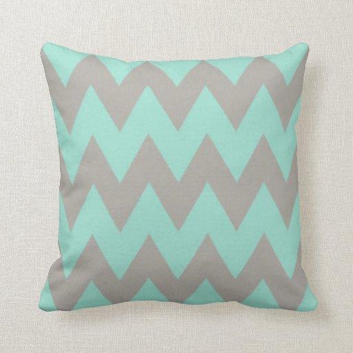 Grey Chevron Throw Pillow : Grey and Mint Chevron Throw Pillow Zazzle