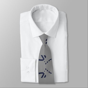 Aztec Themed Grey and Navy Blue Clean Lines Tie