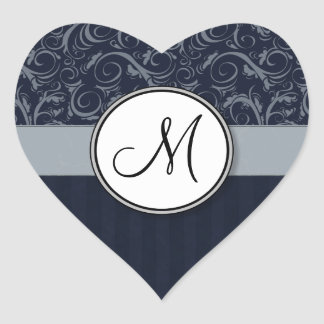 Grey and Navy Floral Wisps & Stripes with Monogram Heart Sticker