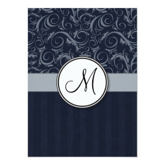 Grey and Navy Floral Wisps & Stripes with Monogram Invite