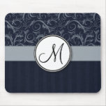 Grey and Navy Floral Wisps & Stripes with Monogram Mouse Pad