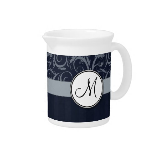 Grey and Navy Floral Wisps & Stripes with Monogram Drink Pitchers