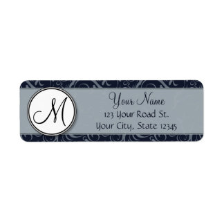 Grey and Navy Floral Wisps & Stripes with Monogram Return Address Label