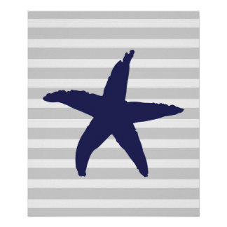 Grey and Navy Striped Nautical Sea Star Poster