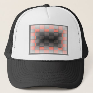 Grey and Orange Squares Trendy Geometric Trucker Hat