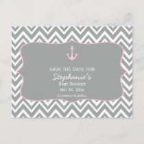 Grey and Pastel Pink Chevron Nautical Baby Shower Announcement Postcard