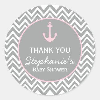 Grey and Pastel Pink Chevron Nautical Baby Shower Classic Round Sticker