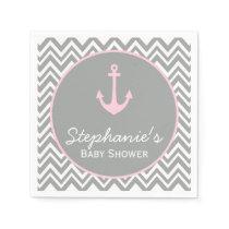 Grey and Pastel Pink Chevron Nautical Baby Shower Paper Napkin