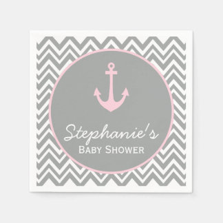 Grey and Pastel Pink Chevron Nautical Baby Shower Paper Napkin