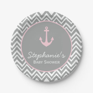Grey and Pastel Pink Chevron Nautical Baby Shower Paper Plate  sc 1 st  Zazzle & Pink And Grey Plates | Zazzle