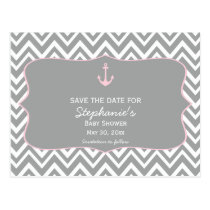 Grey and Pastel Pink Chevron Nautical Baby Shower Postcard