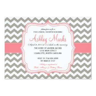 Grey and Pink Chevron Invitation