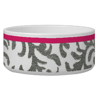 Grey and Pink Floral Damask Bowl
