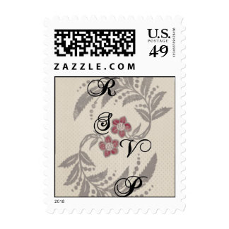 Grey and Pink Floral Flourish RSVP Stamp