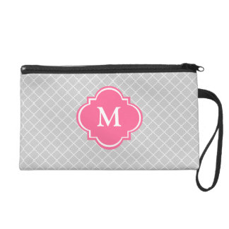 Grey and Pink Mongoram Wristlet Gift for Her