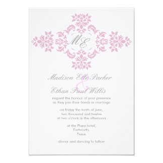 Grey and pink monogram linen wedding Invite