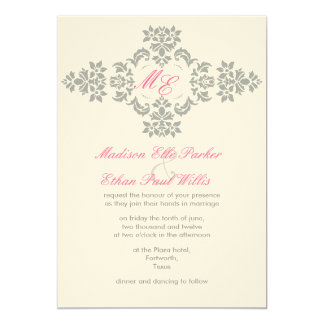 Grey and pink monogram wedding Invite