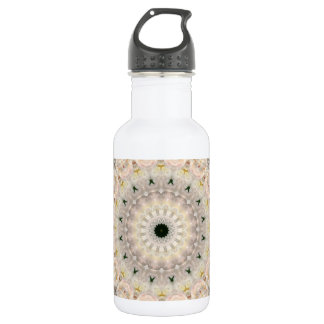 Grey and Pink Peony Mandala Kaleidoscope Water Bottle
