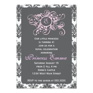 Grey and Pink Princess Damask Invitation