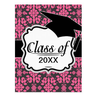 grey and pink shabby damask funky graduation post card