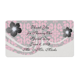 grey and pink shabby damask funky shipping label