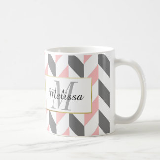 Grey and Pink Zig Zag Chevron Pattern Coffee Mug