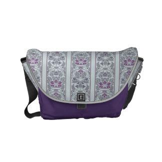 Grey and purple art nouveau floral pattern small messenger bag