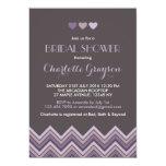 Grey and Purple Chevron Bridal Shower Invitation