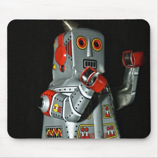 Grey and Red Robot Mechanical Toy Mouse Pad