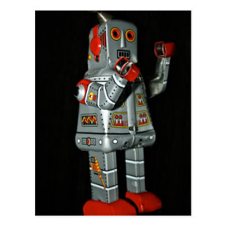 Grey and Red Robot Mechanical Toy Post Card